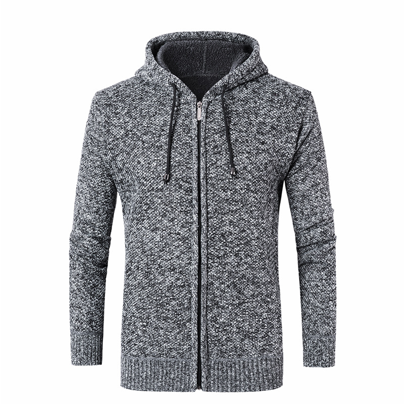 Fashion Mens Casual Warm Solid Color Winter Autumn Knitting Thicken Hooded Cardigan Coat Hoodies Sweatshirt