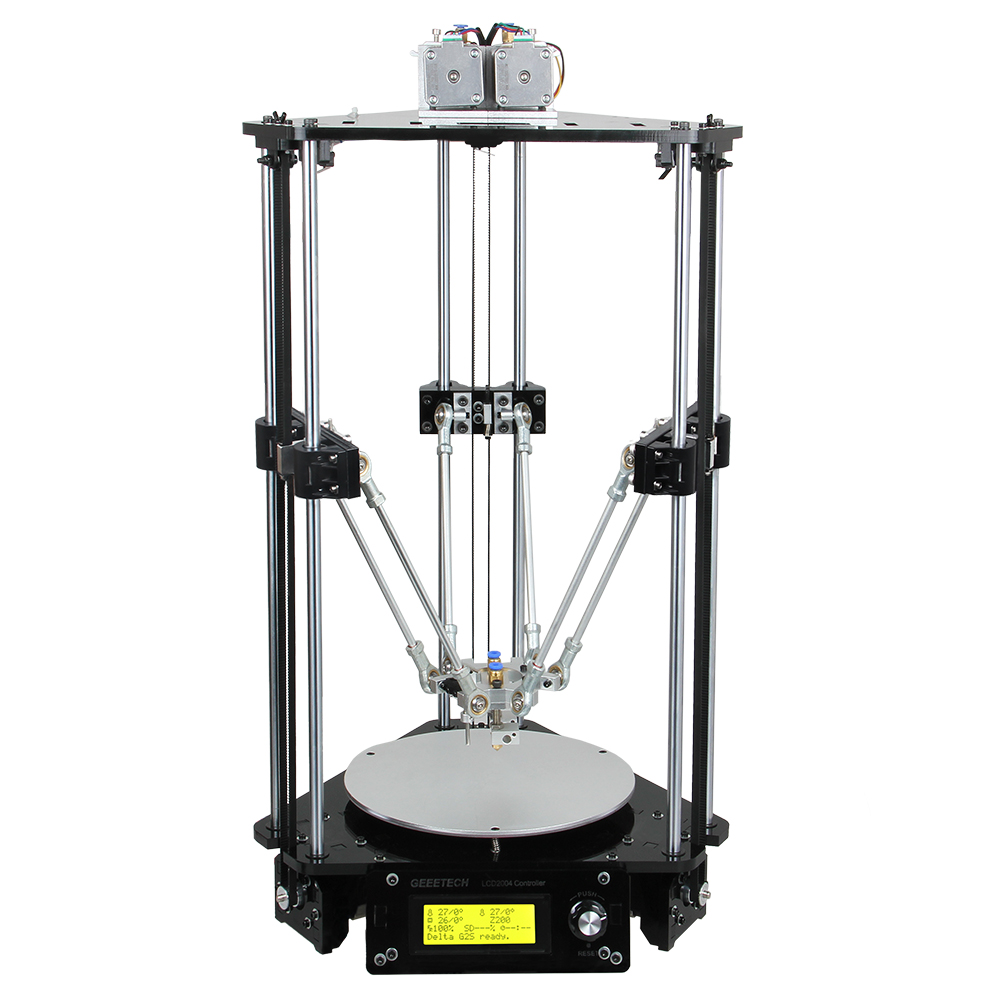 Geeetech 3D Printer Dual Heads Rostock Mini G2S Pro Delta Auto Kits All Metal High Resolution