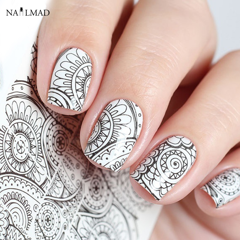 1 Sheet Mandala Nail Water Decals Black Mandara Nail Art