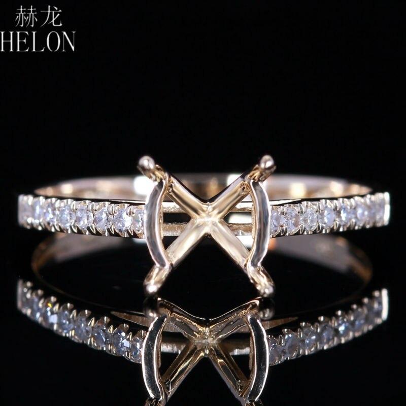 HELON New Fashion Jewelry Round 7-8mm Solid 14k Yellow Gold Semi mount Ring Setting Engagement Diamonds Wedding Women Fine Ring