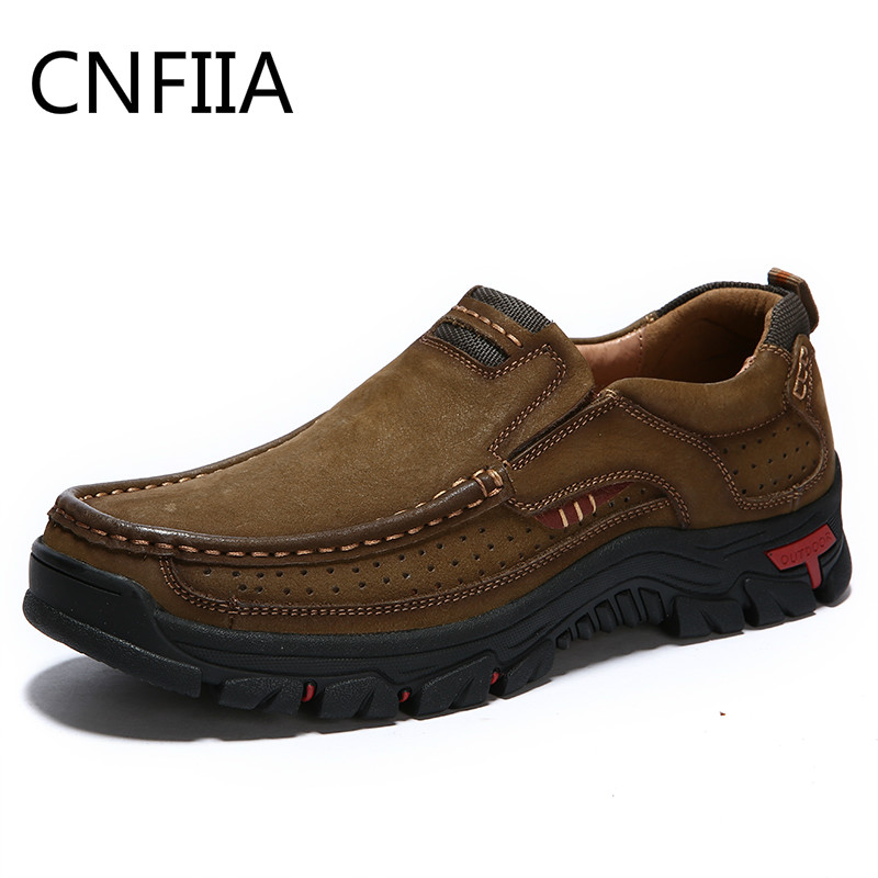 цена на CNFIIA Men Shoes Men Casual Shoes 2018 Plus Size 45 Genuine Leather Shoes Loafers Sport Sneakers Luxury Brand Fashion Quality