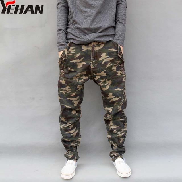 Homens Moda Casual Militar Carga Camo Calças de Brim Plus Size Baggy calças soltas hip hop harém calças de brim dos homens calças elásticas retas 29-44