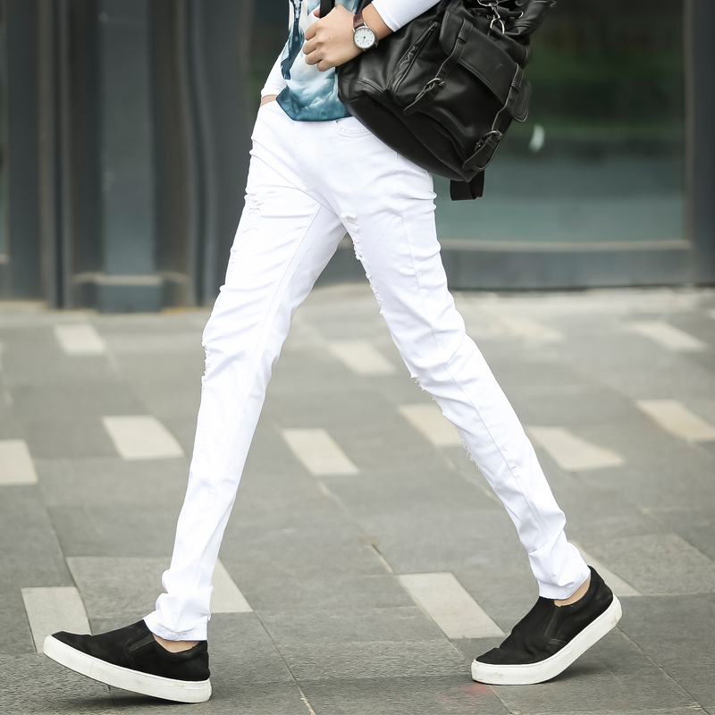 White Mnes Jeans 2017 Fashion Business Casual Black Male Pants LEFT ROM Men Cowboy trousers Size 28-36 Popular Trend Teens Top jeans mens cotton blue male jeans 2017 new men pants fashion business casual size 42 hot sale high quality best choice left rom