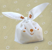 20pcs/lot cute rabbit ear cookie bags Self-adhesive Plastic Bags for Biscuits Snack Baking Package food bag(China (Mainland))