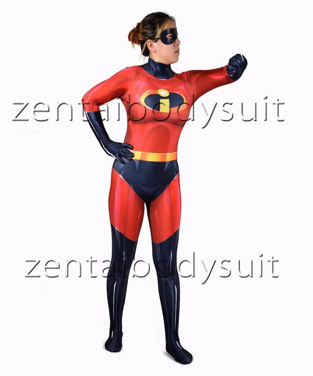 The Incredibles Female Version Superhero Cosplay Costume Bodysuit Suit Halloween Jumpsuits