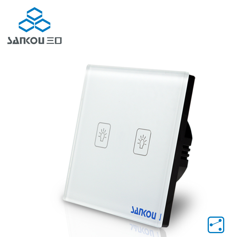 Cnskou EU Standard 110V-220V Touch Switch White Crystal Glass Panel Wall 2Gang 2Way Wall Light Switch Smart Home Manufacturer smart home eu touch switch wireless remote control wall touch switch 3 gang 1 way white crystal glass panel waterproof power