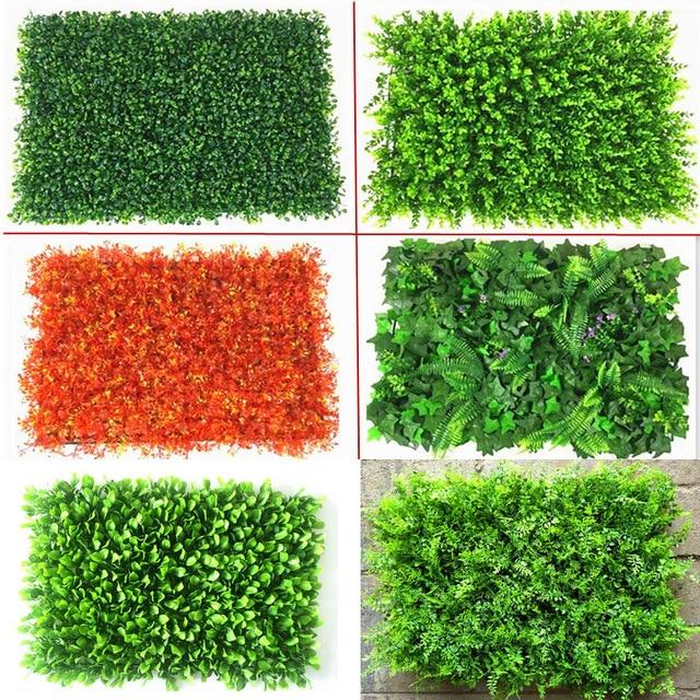diy artificial 3d green wall garden decor plants plastic grass green landscaping square lawn eucalyptus leaves