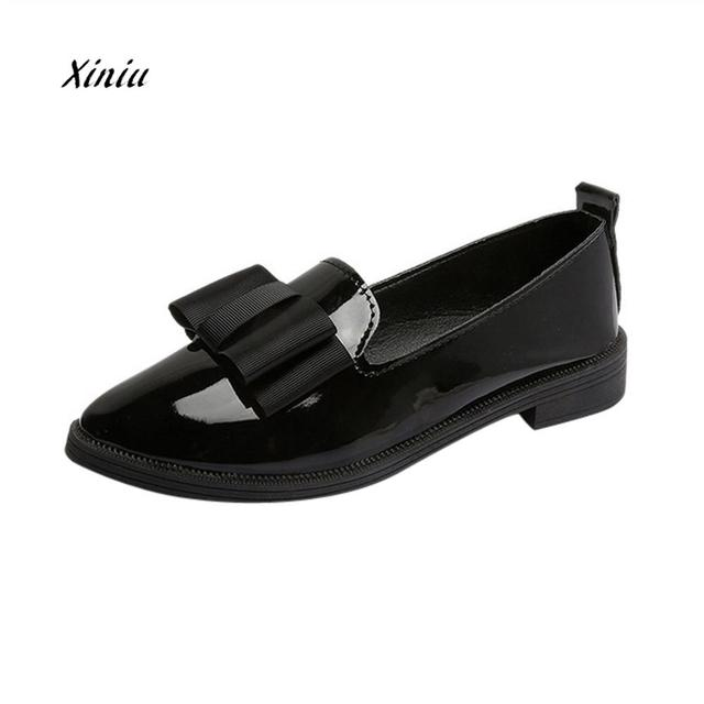 Women Pointed Toe Shoes Square heel Casual Flat Shoes Fashion Butterfly-knot Comfortable Slip Flat Shoes Female Outdoor Flats