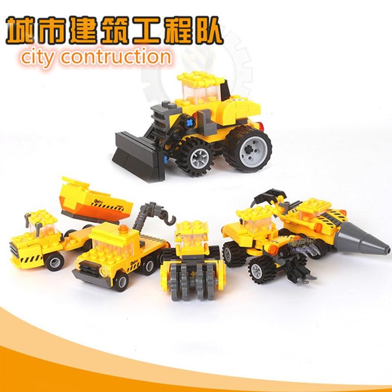 KAZI Brick Truck Gaffelgrävmaskin Blender Bulldozer Byggblock Stadskonstruktion Brinquedos Intelligence Toy 6 + Åldrar 8035-8060