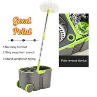 Spin Mop Rotating and Bucket Set Wheels and 4 Microfiber Mop Heads Smart Cleaning Floors Windows Home Kitchen 360 Degree