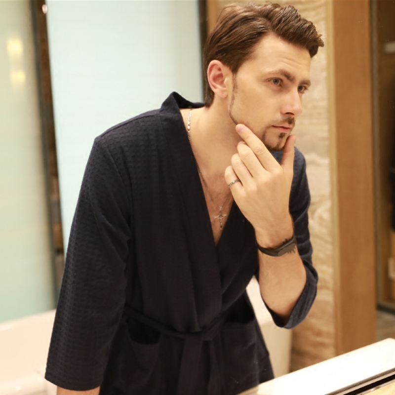 Autumn Spring New Men Robe Gown Casual Waffle Kimono Bathrobe Male Daily Spa Home Clothes Three Quarter Sleeve Sleepwear M-XXXL