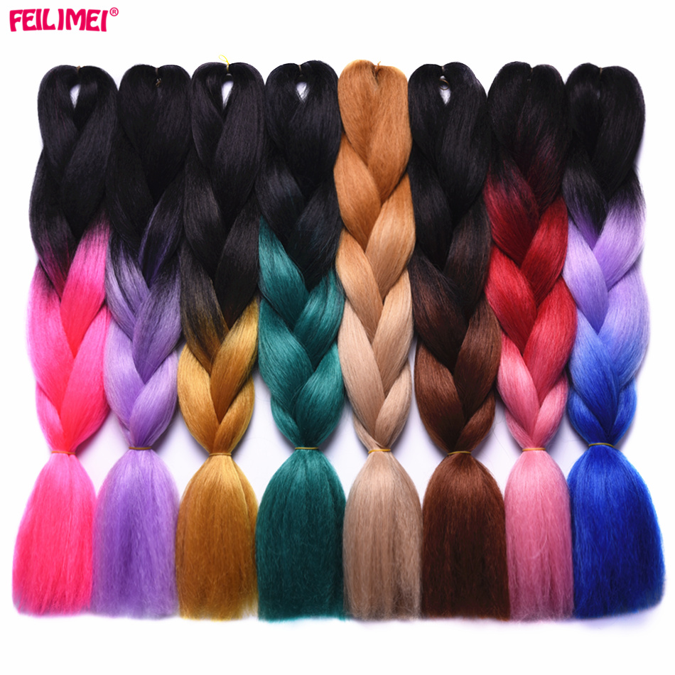 Hair Extensions & Wigs Jumbo Braids Audacious Feilimei Ombre Braiding Hair Extensions 24inch 100g Synthetic Jumbo Braids Blue/green/brown/blonde/gray/pink/purple Crochet Hair