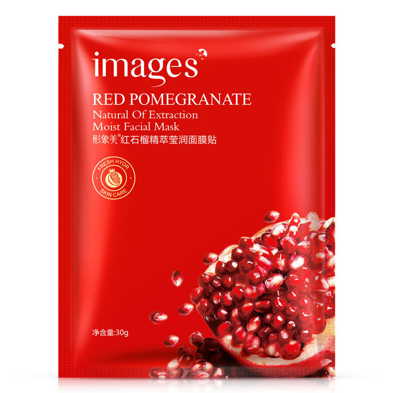 Images Plants Red Pomegranate Facial Mask Smooth Moisturizing Oil Control Shrink Pores Face Mask Fabric Wrapped Mask Skin Care