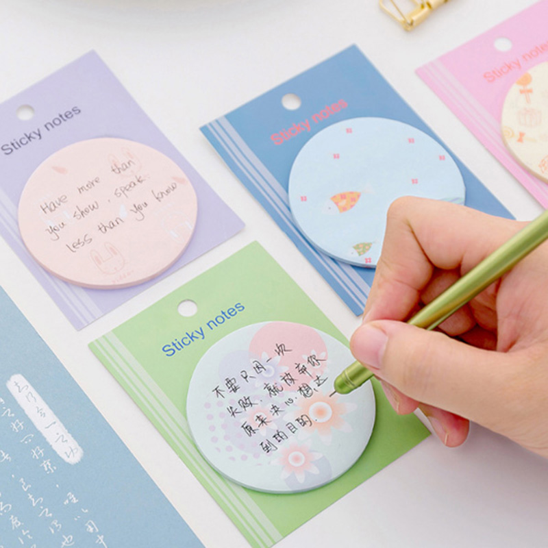 US $0 57 29% OFF|Aliexpress com : Buy 1X kawaii Small round drawing weekly  plan Sticky Notes Post Memo Pad stationery School Supplies Planner Stickers