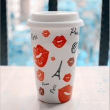 360 ml Doppelschicht Keramik Schöne Paris Kaffee Teetasse Mit Deckel Verbrühungsschutz Kaffeetassen Reise-becher Freies verschiffen