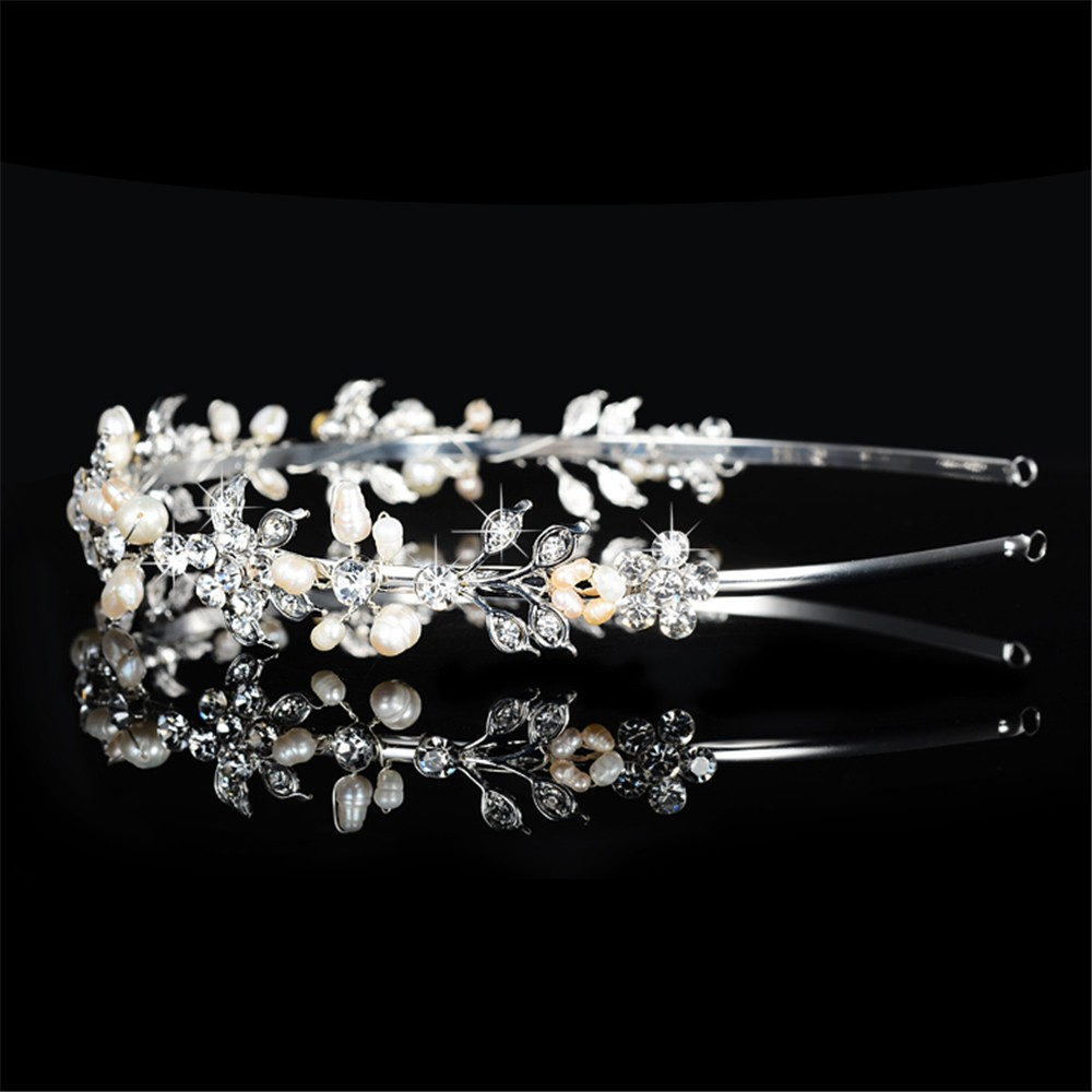 925 sterling silver cute pink flowers design tiara for women simulated pearl & Austrian crystal hair accessories wedding jewelry bridal crown HF042 (4)