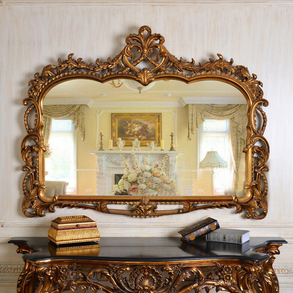 European Antique Refined Mirror Luxury Golden Frame Decor Wall Art Hotel or Beauty Salon or ...