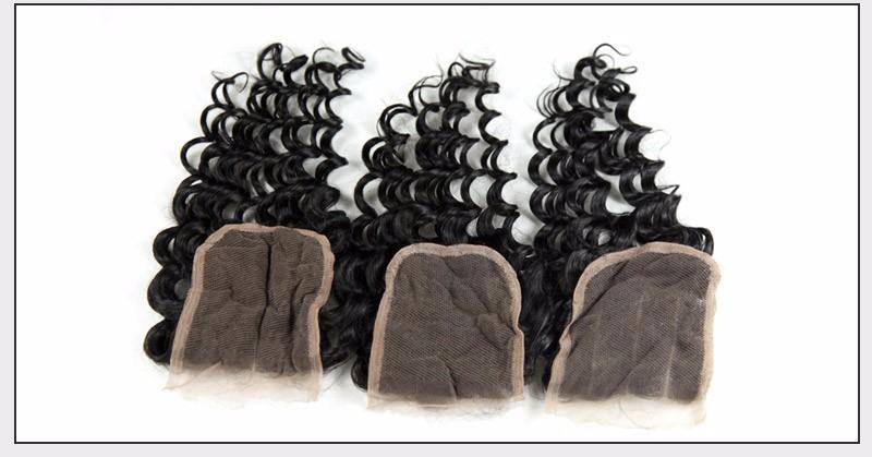 Brazilian Virgin Hair Deep Wave Lace Closure Free3middle Part 4X4 Size Lace Brazilian Deep Weaving closure  Alimice Hairstyle (10)
