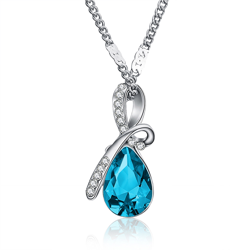 MISANANRYNE Fashion 10 Colors Austrian Crystal Water Drop Pendants&Necklaces Chain Necklace Fashion Jewelry For Women 3