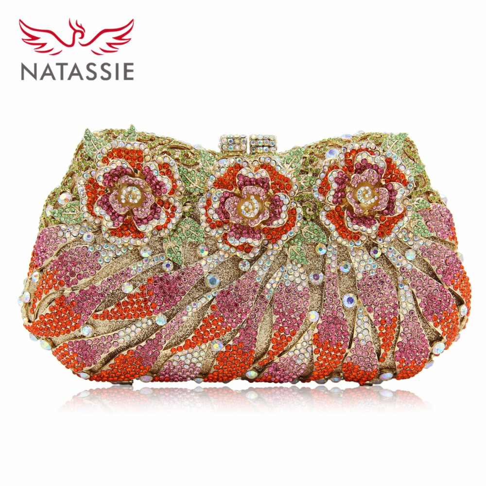 NATASSIE Ladies Flower Wedding Clutch Evening Bag Women Crystal Bags Female Socialite Style Party Purses Day Clutches natassie women crystal clutches bags ladies evening bag female red purple party clutch wedding purse