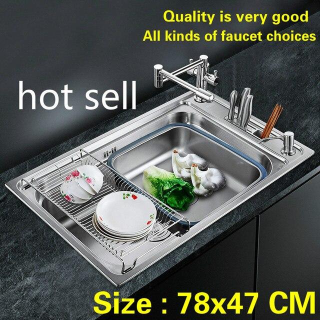 Frete grátis Padrão individualidade calha pia da cozinha única moda durable 304 food-grade de aço inoxidável a quente vender 78x47 CM