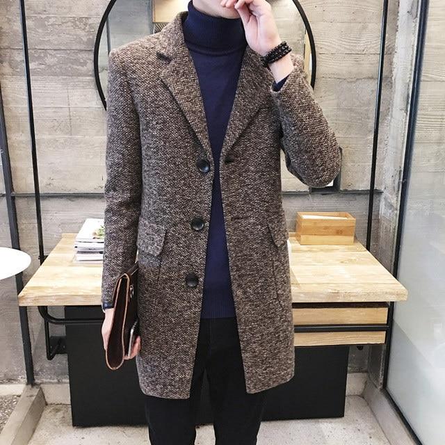 Зимняя ветровка мужская Корейская версия Новинка 2017 Тонкий шерстяное пальто Мужчины Красивый студент утолщение длинное пальто