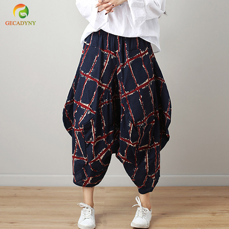 Spring Summer Vintage Stitch Cotton Linen Trousers Baggy Pantalon Women Printed Linen Harem Cross   Pants     Wide     Leg     Pants   Female