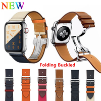 For Apple Watch 44MM 40MM Leather Single Tour Deployment Buckle With LOGO Genuine Leather Strap for iWatch Series 4 3 2 1 Band