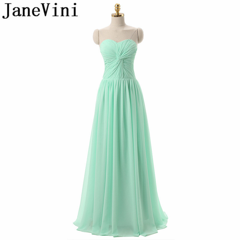 JaneVini Simple Long   Bridesmaids     Dresses   A-Line Chiffon Sweetheart Pleat Floor Length Formal Prom   Dress   Vestidos Dama De Honra