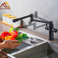 Blackend Finish Folding Kitchen Faucets Deck Mount Dual Handle ORB Mixer Bar Taps Bathroom Sink Faucet