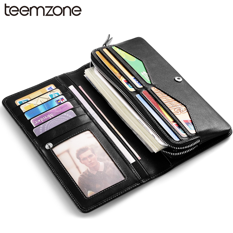 teemzone Men Cow Leather Wallet With Rivets Genuine Leather Day Clutch Long Wallet Business Credit Card Holder Purse Q490 never leather badge holder business card holder neck lanyards for id cards waterproof antimagnetic card sets school supplies