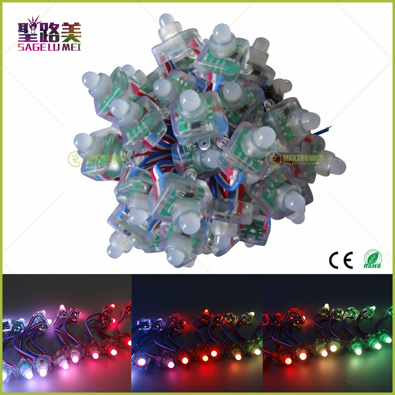 50pcs/lot 12mm IP68 Waterproof Modules DC5V 2811 Square Diffused Digital Ws2811 Addressable RGB LED Pixel String Free Shipping