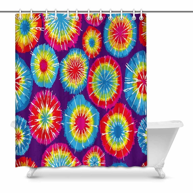 Aplysia Tie Dye Fabric Shower Curtain Decor With Hooks 60 X 72 Inches