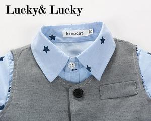 Image 3 - Gentleman baby boy kleding lange mouw + vest + casual broek voor bruiloft en partij pasgeboren baby kleding