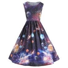 Vestido Cosmic Sky Planet para mujer 2019 vestido Sexy para chica plisado estampado Vintage cielo estrellado planeta espacio vestido