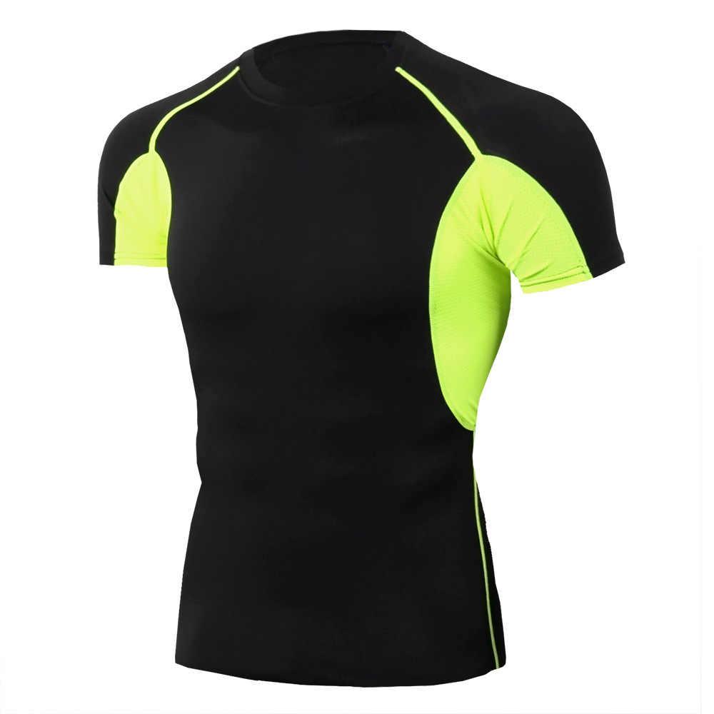2019 Gym Shirt Sport Kemeja Pria Kebugaran Berjalan T Shirt Pria Dry Fit Lengan Pendek Pelatihan T-shirt Pria Penjaga Ruam Olahraga tshirt