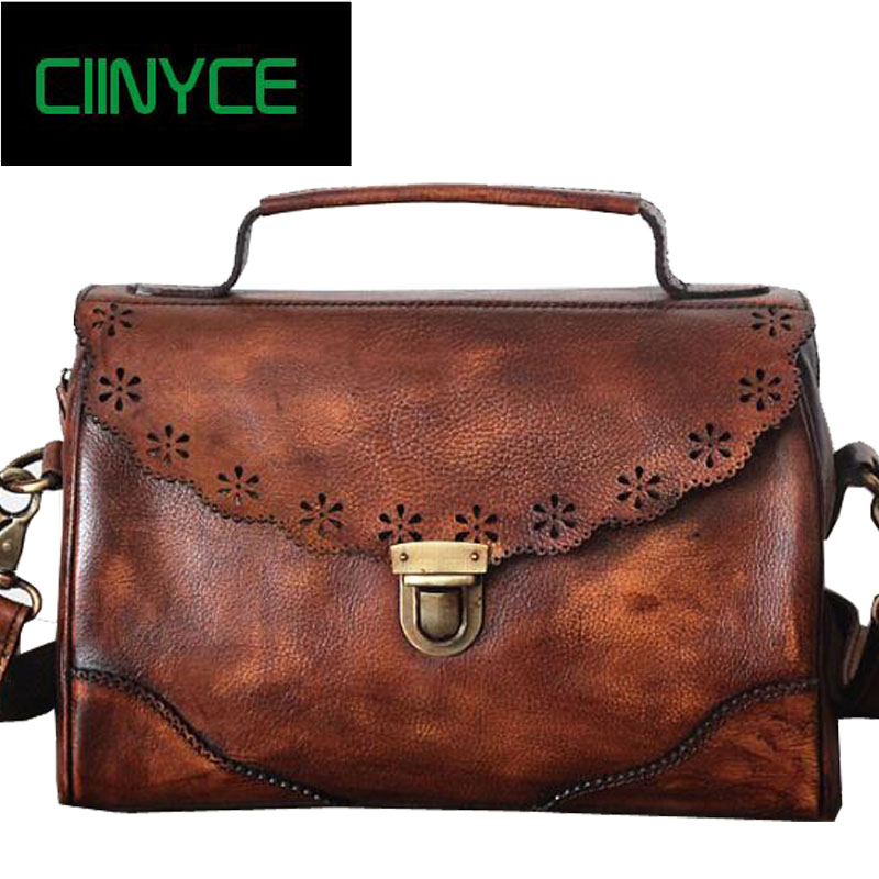 f1b9ea749e46 Retro Hollow Out Genuine Cow Leather Shoulder Hasp Vintage Womens Real  Natural Skin Cowhide Totes Bags Crossbody Handbag