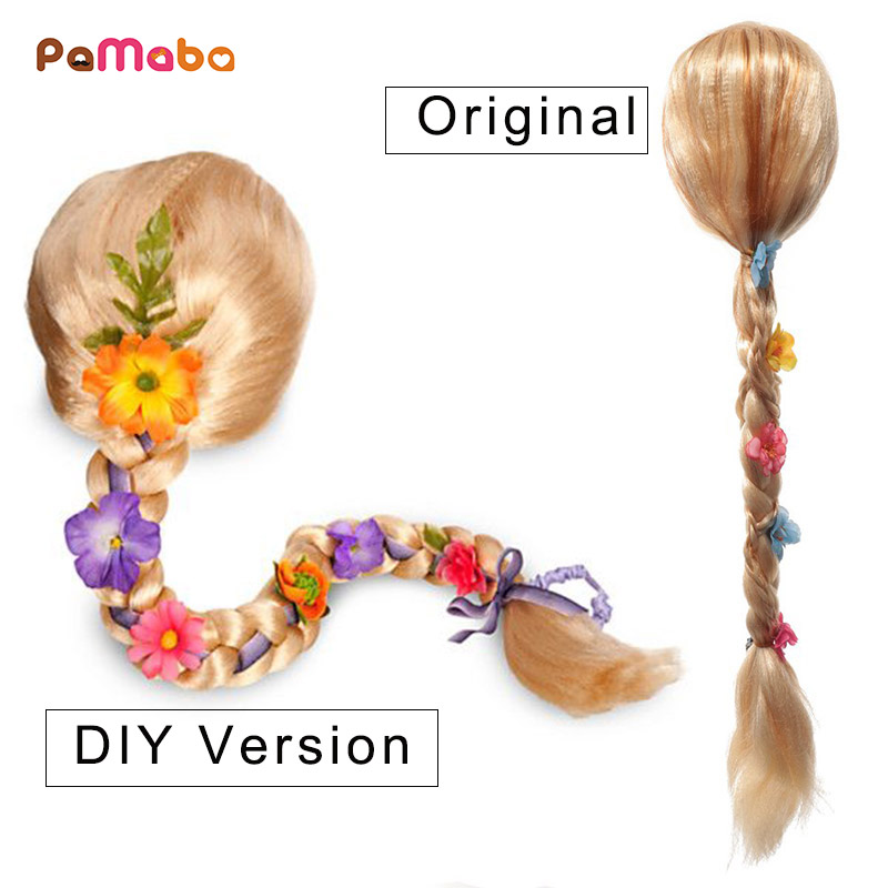 Kid Cosplay Equipment Rapunzel Braid Synthetic Hair Party Supply Girl Princess Tiara Ariel Anna Wig Comic Con Accessory Costume