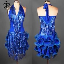 Blue Latin salsa tango Cha cha Ballroom Competition Sequined Evening Dance Dress