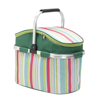 Cooler Bag New Striped Aluminum Foil Portable Shopping Basket 26L Oxford Large Capacity Insulated Winter Picnic Basket Food