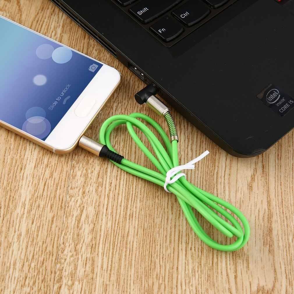 3.5mm Jack 1M kabel AUX Audio kabel męski do męskiego złota wtyczka przewód sprężynowy kabel Audio do telefonu głośnik samochodowy słuchawki