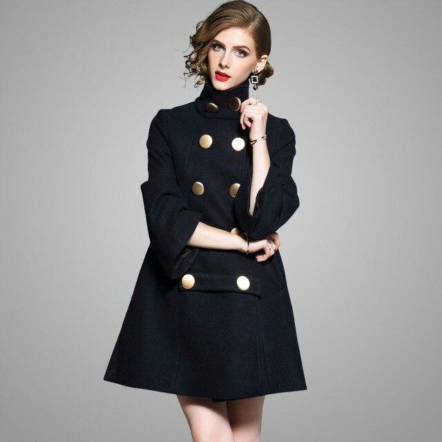 8b0596da4da9 high neck navy blue double-breasted long wool coat ladies winter tunic big buttons  long coat woolen overcoat 2018