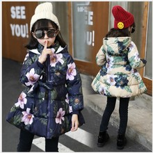 Girls Winter Coats 2017 Sweet Cute Floral Cotton-padded Clothes Outerwear Long Kids Jacket Teenager Girls Parka 14 years jackets