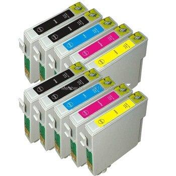 Cartucho de tinta compatible con 10 T0711-T0714 de tinta para impresora EPSON Stylus SX215/SX218/SX400/SX405/SX405WiFi/SX410/SX415/SX510