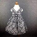 Brand Black Flower Girls Dress V-Neck Ring Belt Princess Cotton Kids Dresses for Children Clothes Summer Party Beach 2-8T