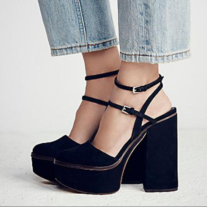 2017 Sexy Shoes Woman High Heels Buckle Sandals Suede Platform Shoes Slingback Zapatos Mujer Summer Women Shoes Hot Ladies Shoes цены онлайн