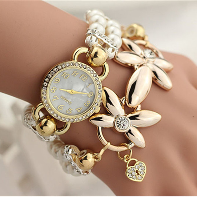 Hot Luxury Flower Pearl Bracelet Watch Women Fashion Wristwatches Ladies Rhinest