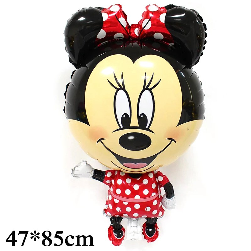 1pc 85*47cm big size foil material happy birthday balloons cartoon minnie mickey air balloons for mickey party balloon supplies