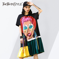 TWOTWINSTYLE Ribbons Dress Ladies Print Patchwork Short Sleeve Irregular Midi Dresses 2018 Summer Fashion Oversize Clothing