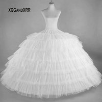 Ball Gown Long Petticoats Wedding Dress 6 Hoop Crinoline Ruffles Petticoat Underskirt Wedding Accessories Fast Shipping